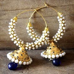 bollywood indian fashion earring jhumka chandbali ethnic bridal gold tone blue