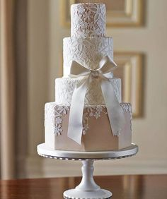 Looks like someone dropped a lace veil over the cake.