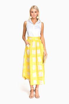 Yellow Wild Grid Long Wing Skirt