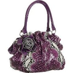 Snake Embossed Floral Satchel Purse