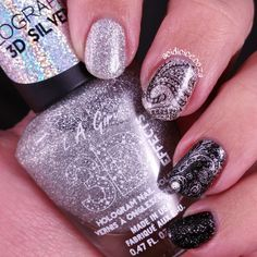 L.A. Girl Black Illusion and 3D Silver, Bundle Monster, Shangri-La, BM-S107, stamping, black, silver, nail art, nails, Sinful Colors, Tip Top, Armour Plate