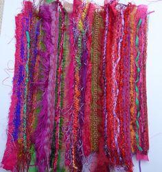 Made by layering fabrics, ribbons, yarns and hand made braids, great fun!
