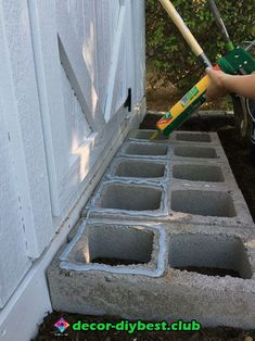 I used cement glue to attach the pavers to the cinder block. cinder block and paver stairs for garden shed or playhouse. Backyard Projects, Outdoor Projects, Garden Projects, Diy Projects, Concrete Blocks, Play Houses, Backyard Landscaping, Outdoor Gardens, Outdoor Living