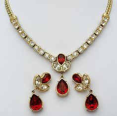 Vintage Necklace & Earrings with Red Rhinestones - The Jewelry Lady's Store - 1