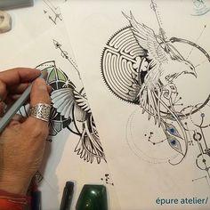 #phoenix #tattoodrawing #tattooproject #epureatelier #tattoo #phoenixtattoo