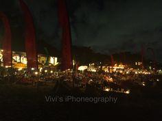Night lights at La Plancha restaurant by the beach, Bali-Indonesia