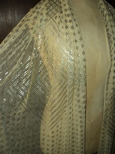 1920s Egyptian Assuit Shawl Cream Cotton with Silver Hammered Geometric Pattern Excellent Condition Wearable Art