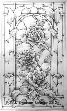 A pattern for stained glass. Build to 14 × Customers receive 2 full size paper prints via USPSClimbing Roses. A pattern for stained glass. Build to 14 × Customers receive 2 full size paper prints via USPS Stained Glass Patterns Free, Stained Glass Designs, Stained Glass Flowers, Stained Glass Art, Celtic Stained Glass, Stained Glass Panels, Glass Painting Designs, Paint Designs, Leather Tooling Patterns