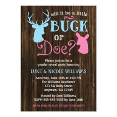 Gender Reveal Party Buck or Doe Gender Reveal Party Baby Shower Card