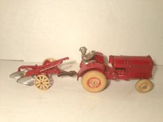 1930's Arcade Toys Cast Iron McCormick Deering Farm Tractor & 2 Bottom Plow