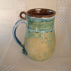 Pottery Stoneware Beer Stein Tankard 28 oz by PorcelainJazz on Etsy.