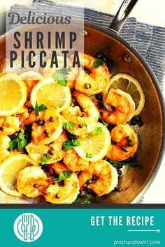 Shrimp Piccata is one of those easy, healthy recipes that's dinner party elegant and weeknight simple! Made with tender shrimp and fresh lemon all tossed in a creamy garlic butter and caper lemon sauce! Skip the cornstarch coating to make it keto diet friendly. Easy Dinner Recipes, Pasta Recipes, Real Food Recipes, Healthy Recipes, Italian Dishes, Italian Recipes, Roast Broccoli And Cauliflower, Mashed Red Potatoes