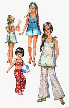 1970s Simplicity 8813 Girls RETRO Bathing Suit and by sandritocat, $13.00