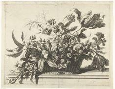 Pieter van den Berge   Mand met bloemen, Pieter van den Berge, c. 1694 - before 1737   Mand met tulpen, rozen en andere bloemen. De mand staat op een stenen vensterbank.