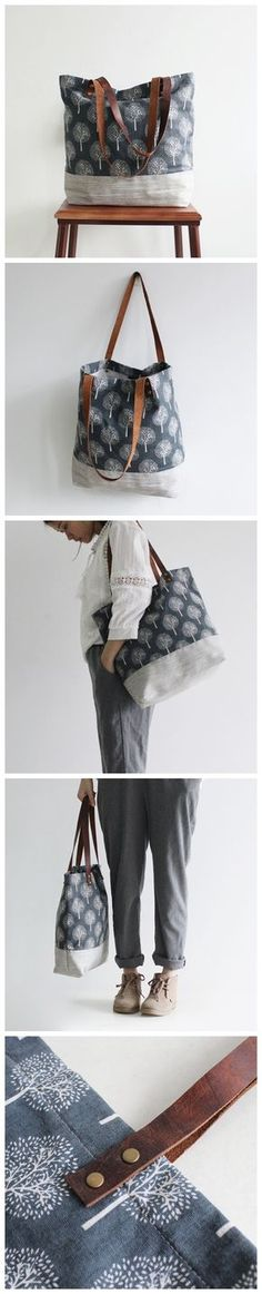 Original Handmade Canvas and Leather Casual Tote Shoulder Bag Carry all Bag