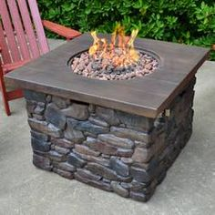 It is commonly believed that humans have gathered around fire for more than 1 million years. The Yosemite Stone Propane Fire Pit Table by Tortuga Outdoor brings the ambiance enjoyed for so long to you Propane Patio Fire Pit, Outdoor Fire Pit Table, Gas Fire Pit Table, Fire Pit Backyard, Outdoor Living, Patio Table, Outdoor Fun, Backyard Patio, Outdoor Ideas