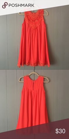 """Brand new coral dress ✨ Beautiful lined dress with lace collar and hem detail! Flowy fit. 100% Polyester. Armpit to armpit 17"""". Shoulder to hem 34"""". Jodifl Dresses"""