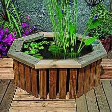 Deck pond wooden water feature