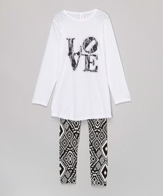 Loving this White 'Love' Tunic & Leggings - Girls on #zulily! #zulilyfinds