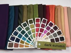 Shop your seasonal tone with confidence! Dark Autumn CLOTHING and Swatch Books sold at this site. All items are hand selected by an expert color analyst. Soft Autumn Deep, Dark Autumn, Deep Winter, Deep Autumn Color Palette, Colour Pallette, Color Type, Seasonal Color Analysis, Color Me Beautiful, Copics
