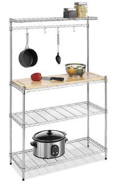 AmazonSmile - Whitmor 6054-268 Supreme Bakers Rack, Chrome and Wood - Free Standing Baker Racks