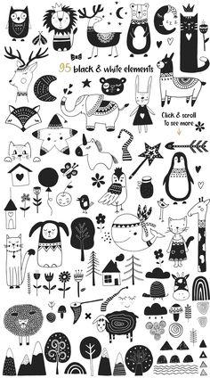 Scandinavian for Girl by JB ART on Creative Market - Ideen finanzieren Desenho Kids, Boy Illustration, Girl Illustrations, Satirical Illustrations, Doodle Drawings, Clip Art, Creative, Drawing Ideas, Drawing Sketches