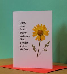 Items similar to Mothers Day Cards - Mums Come in All Shapes and Sizes but this card says it all ! - Simple heartfelt wishes for Mothers Day - Real Flowers. on Etsy Real Flowers, Wild Flowers, Mother Day Wishes, Owl Tree, Simple Words, Mothers Day Cards, Tree Designs, Handmade Gifts, Handmade Cards