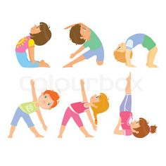 Kids Doing Simple Yoga Poses Bright Color Cartoon Childish Style Flat Vector Drawing On White Background | vector_preview_title | Colourbox on Colourbox