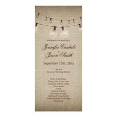 Rustic Country String of Lights Wedding Programs Custom Rack Card
