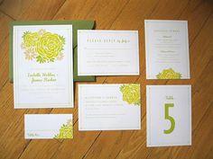 green wedding invitation