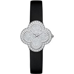 Van Cleef & Arpels Alhambra Pave White Gold Diamond Watch (1,619,145 PHP) ❤ liked on Polyvore featuring jewelry, watches, diamond dial watches, dial watches, white gold watches, pave jewelry and quartz movement watches