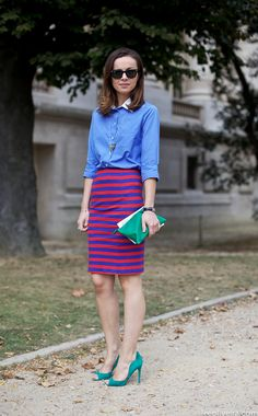 blue and red striped pencil skirt, turquoise peep-toes, blue shirt with white collar. // Ann Sophie, Paris