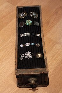 DIY Ring Holder...What a great use of this vintage drawer...clever!