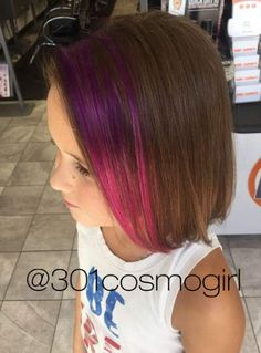 Check Out Our , Hot Pink Pink Hair Ideas, 40 Ideas Of Peek A Boo Highlights for Any Hair Color In these Purple Pink Pravana Ombré Peekaboos are Perfect for Kids Hair. Hair Dye For Kids, Kids Hair Color, Girl Hair Colors, Hair Color Pink, Cool Hair Color, Kids With Colored Hair, Kid Hair, Cute Hairstyles For Kids, Girls Short Haircuts