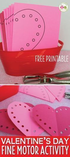 Valentine free printable, cut and use a hole punch to make and decorate cute hearts. Preschool, pre-k, kindergarten, or SPED classroom. Kids can practice scissor skills and strengthen fine motor skills with a hole punch. Kinder Valentines, Valentine Theme, Valentine Crafts For Kids, Valentines Day Activities, Holiday Activities, Valentines Crafts For Kindergarten, Free Printable Valentines, Holiday Crafts, Fine Motor Activities For Kids