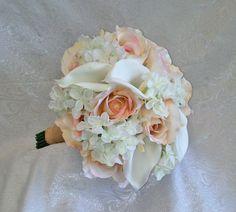 WHITE BLUSH Calla Lily Roses Handtied Bridal Bouquet Silk Wedding Flowers Burlap #Wedding #FlowersBouquets