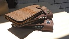 Womans leather clutch purse with surprising materials by skinsew