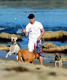 Channing Tatum, happy dogs, beach and a sideways hat turn? Oh Channing how you ring my bell!