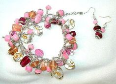 Pink Bead Art Glass and Lampwork Charm Bracelet and Earrings   Jewels2aT - Jewelry on ArtFire