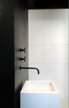 *Fabulous white bathroom sink and black tiles Minimalist Bathroom, Modern Bathroom, Small Bathroom, White Bathrooms, Bathroom Black, Bathroom Ideas, Bathroom Toilets, Laundry In Bathroom, Bathroom Tiling