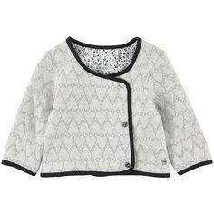 Heart-printed knit cardigan