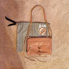 """Rebecca Minkoff Mini M.A.C bag, worn once. Rebecca Minkoff Mini Mac bag in fatigue with light gold hardware, worn once. Adjustable chain strap can be worn crossbody 21"""" drop or doubled 14"""" drop. Herringbone print lining with a matching dust bag. Rebecca Minkoff Bags Crossbody Bags"""