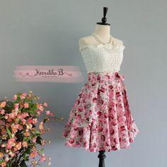 Spring's Whisper Floral Skirt Spring Summer Sweet Floral Skirt Party Cocktail Skirt Wedding Bridesmaid Skirt Purple Pink Floral Skirts