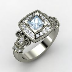 Or something more vintage?    Princess Aquamarine Palladium Ring with Diamond | Dauphine Ring | Gemvara