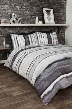 tie dyedstyle graded stripes black cotton blend king size 6 piece bedding set