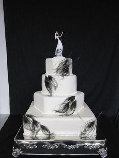 black wedding cake   Black peacock feather wedding cake Danville Country Club Danville, KY ...