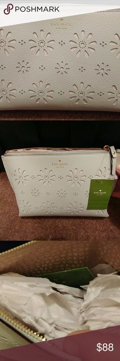 Kate spade large cosmetic tote faye drive Brand new and retails for 139. Light mint green. Great for summertime as a small purse. kate spade Bags Cosmetic Bags & Cases