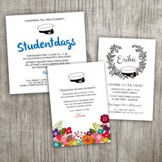 Invitation card for student celebration. Most of my cards can be customized with any text and with a student cap. Invitation Cards, Invitations, Graduation Day, Gifts For Brother, Grandma Gifts, Customized Gifts, Bridesmaid Gifts, I Card, Valentine Day Gifts