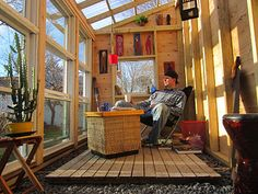 mini-cabin, a solar greenhouse that also doubles as a backyard office, or in this case a writer's retreat