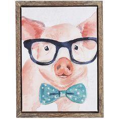 Multi-colored Professor Pig Art - Canvas